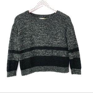 Alice + Olivia Cropped Sweater Gray Black Stripe